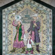 Native aul. One of the mosaic panels in the Kazan Metro