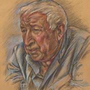 Poet Rasul Gamzatov. pencil, pastel, sangine. 1997