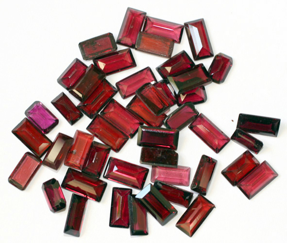 Rectangle shaped rubies