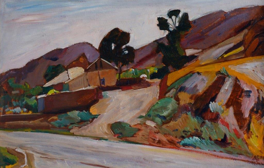 Road to the mountains. 1994. Oil on cardboard