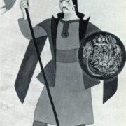 Sketch of the costume for A. Spendiarov's opera 'Almast'. Gouache, gold. 1933