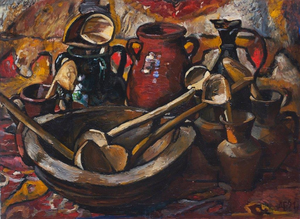 Still life with wooden spoons. 1991. Oil, canvas