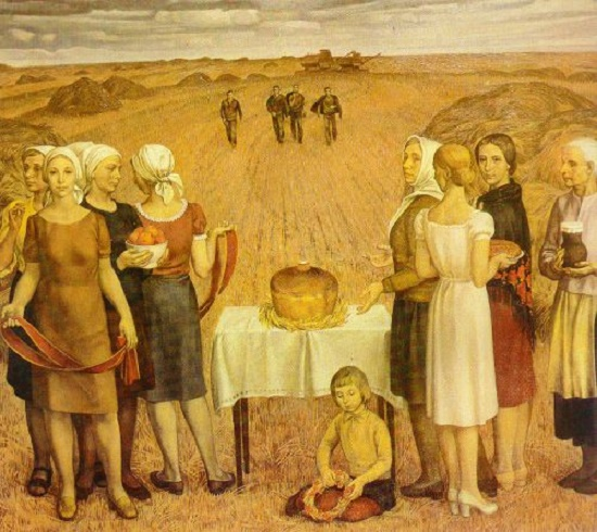 The Bread field. 1979 (Silver medal of the Academy of Arts of the USSR). Painting by Soviet Artist Nikolay Pavlovich Yeryshev (15 June 1936- 31 July 2004
