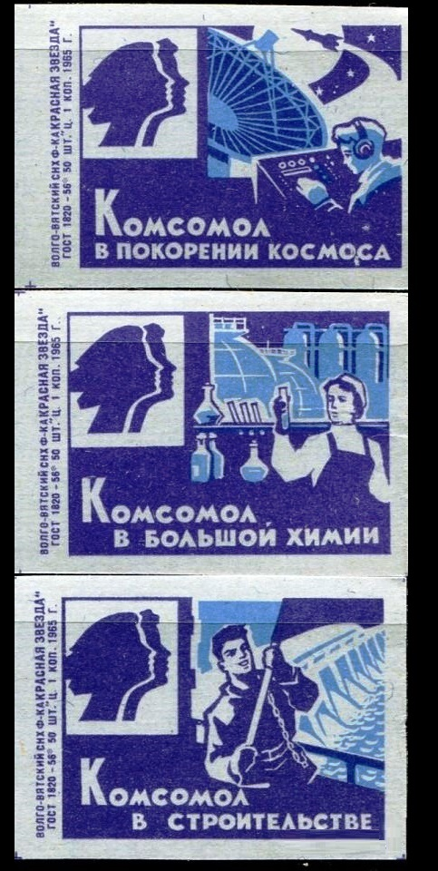 The achievement of Komsomol in space exploration, chemistry and constructing, 1965