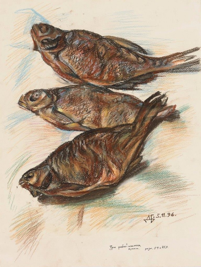 Three fishes. 1996. Paper, pastel