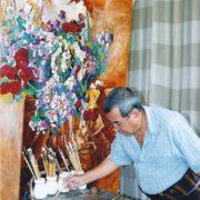 Turkmen artist Durdy Bayramov at work