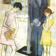 Viola seller. 1959. Paper, pencil, pastel, gouache