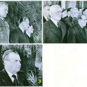 1. Minister of Defense of Poland K. Rokossovsky and Chairman of the Council of Ministers Boleslaw Berut. 2. President of Czechoslovakia Clement Gottwald. 3. Chairman of the Council of Ministers of Romania Gheorghe Gheorghiu-Dej