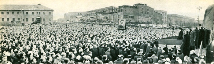 A mourning rally of workers, engineers and employees of the Moscow Automobile Plant named after Stalin