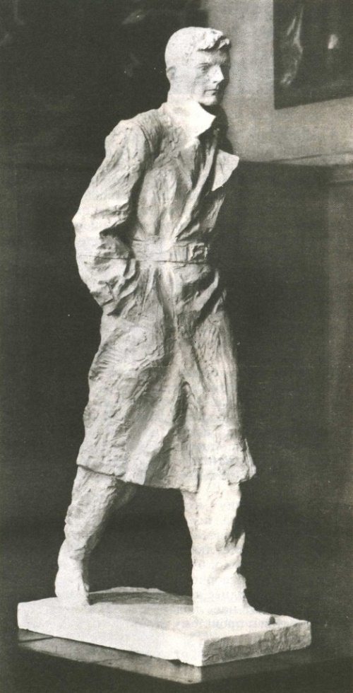 A. Ananiev. Dmitri Shostakovich (young composer, during the war years in blocade Leningrad). Gypsum. 1987