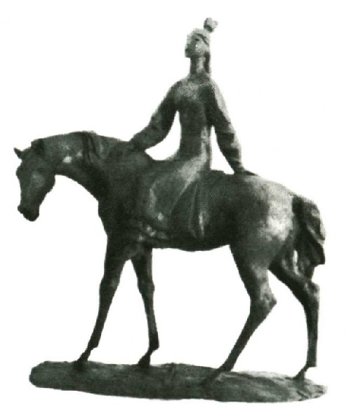 A. Bayarlin. Girl on a horse. Plasticine. 1988