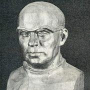 A. Klyuev. Portrait of doctor E. Chuchkalov, veteran of the Great Patriotic War. Wrought copper. 1985