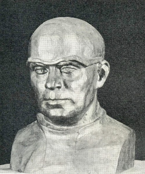 A. Klyuev. Portrait of doctor E. Chuchkalov, veteran of the Great Patriotic War. Wrought copper. 1985