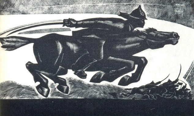 A. Munkhalov. Attack. Lithography (from the series 'Civil war in Yakutia')