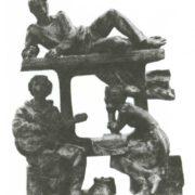 A. Venshev. Komsomol members of the Baikal. Tinted plaster 1987