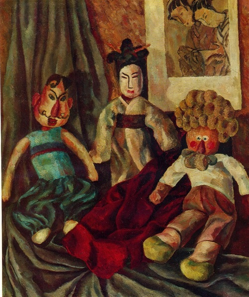 A. Volkov. Still life with three dolls. 1975