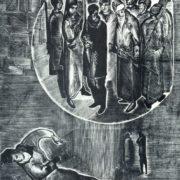 A.D. Goncharov. Illustration for the poem of A. Blok 'The Twelve'. Engraving on wood. 1924