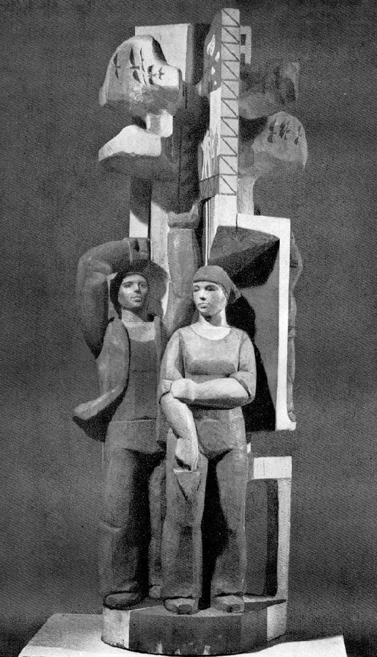 A.M. Alalov (born 1950). Construction crew. 1978 (wood)