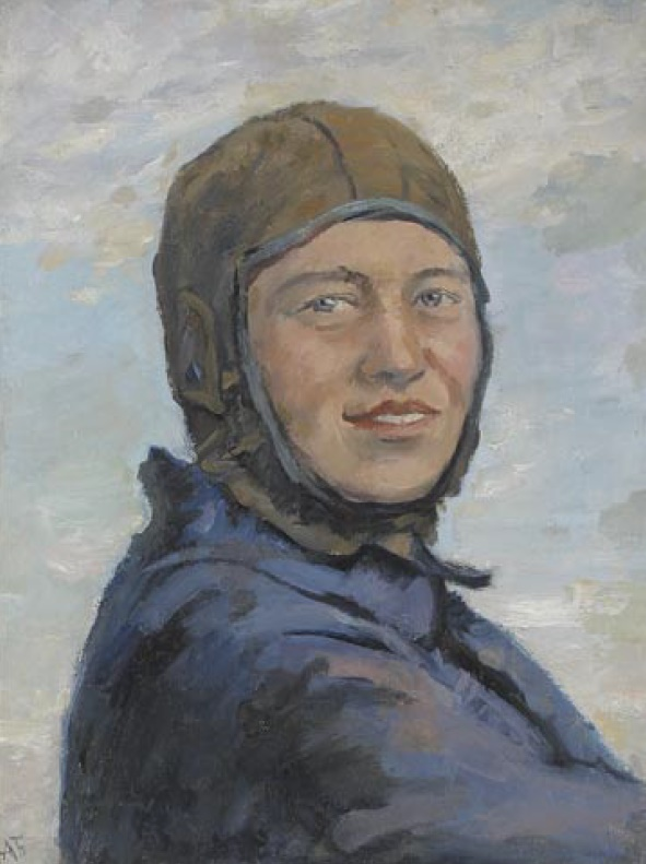 A.N. Bogdanov. Female parachutist. 1937. Oil on canvas