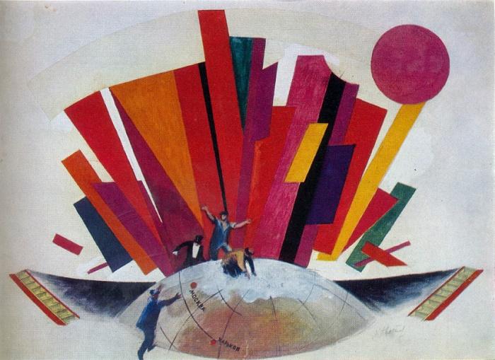 A.V. Khvostov-Khvostenko. A sketch of scenery for the Mystery Buff. Mayakovsky. Gouache. The heroic theater. Kharkov. 1921