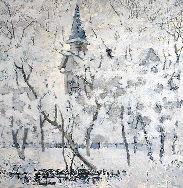 A.V. Yevtikheev. Tomsk winter. Oil on canvas