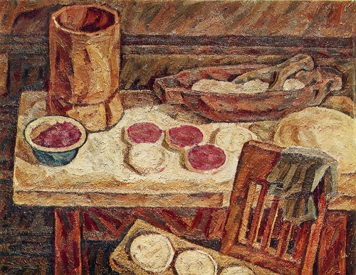 AA Kulikova. Still life with bread. 1976