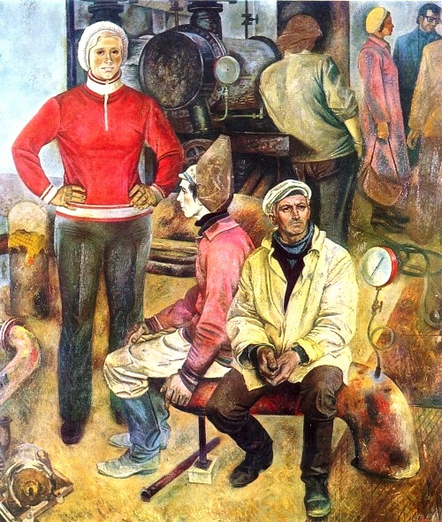 AM Lobko (Bryansk). Giving warmth. 1970-1981. Canvas, oil