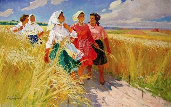 After work. Painting by Soviet artist Konstantin Alexeyevich Shurupov (1910-1985, member of the USSR Union of artists). Soviet art through one picture artists