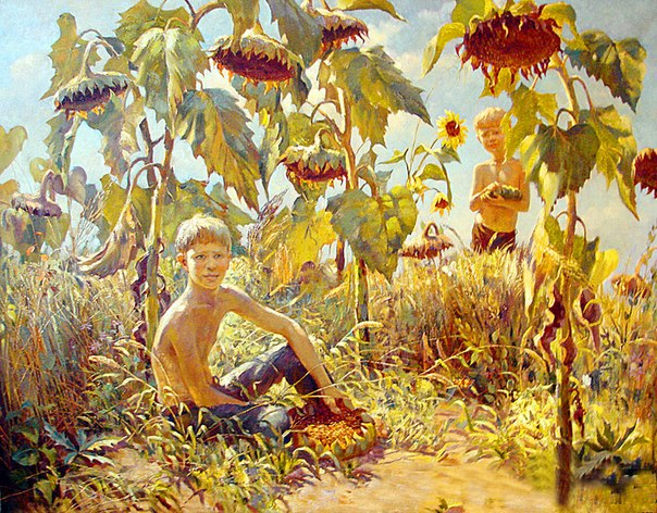 Alexandr Deltsov (1951). Matvey's dreams. Sunflowers. 1989