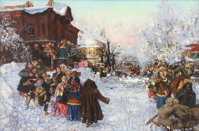 Anatoly Markovich Znak (1939-2002). Seeing winter off in Krasnoyarsk. 1991