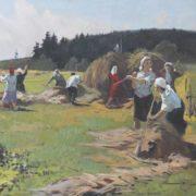 Andrey Potapenko (b. 1925). Hay harvest. 1968-1970