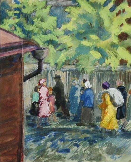 Anna M. Kritskaya (1898-1984). Alley in the market. Moscow. 1944