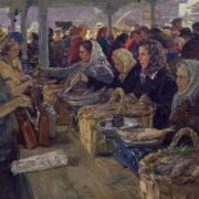 At the Arkhangelsk market. 1956