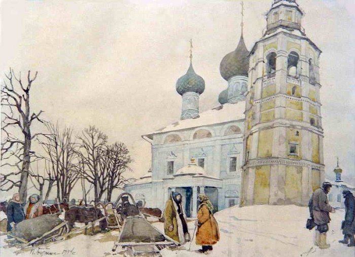 Painting by Soviet Russian artist Pyotr Dmitrievich Buchkin (January 22, 1886 - June 21, 1965)