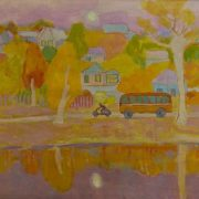 Autumn landscape with a bus. 1963