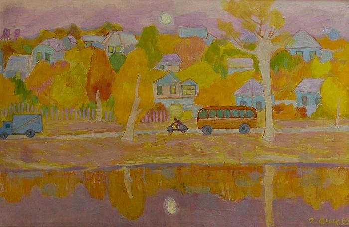 Autumn landscape with a bus. 1963