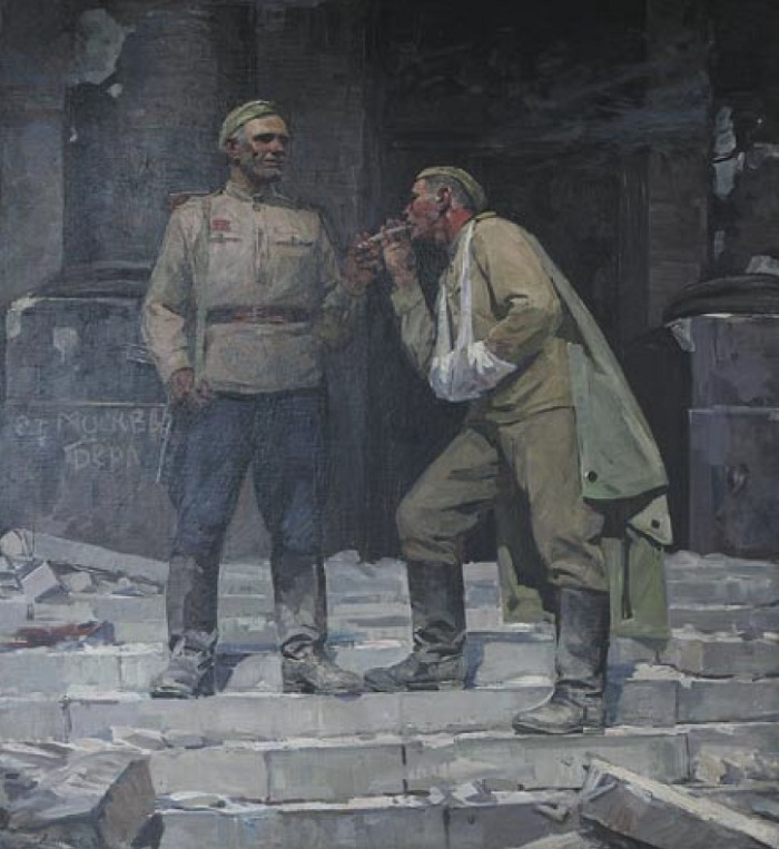 B.A. Litovchenko. b. 1938. Russian soldiers in Berlin. 1976. Oil on canvas