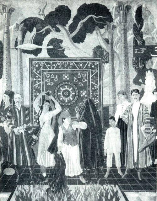 Bahodir Dzhalalov. Theater of the Revolution. Detail of mural Uzbek theater development. Tempera. 1987