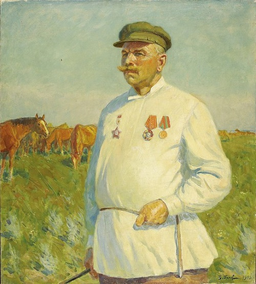 Boris Preobrazhensky (1910 - 1995). Portrait of Meshcheryakov, Stalin Prize laureate, caretaker of stud herds farm of Budyonny 1950
