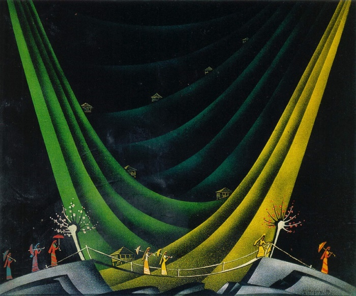 D.M. Tavadze (1911-1990). A sketch of the scenery for the play by DS. Kldiashvili 'The Autumn Nobles'. Gouache. Georgian Theater named after Shota Rustaveli. Tbilisi. 1936