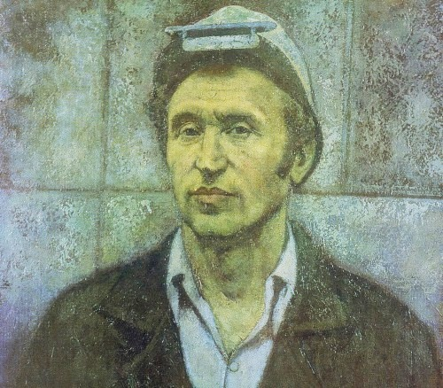 DV Zhuravlev (Novgorod). Portrait of a Hero of Socialist Labor AN Butorov, worker of Cherepovets plant. 1978. Oil on canvas