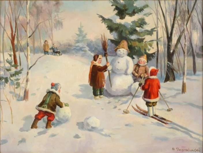 David Varnovitsky (1915). Making snowman