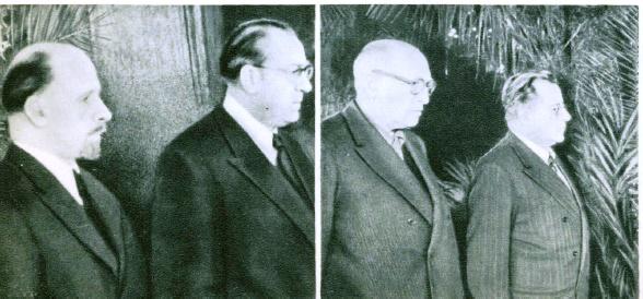 Delegation of the German DR - Prime Minister Otto Grotewohl and Gen.Secretary Walter Ulbricht. R - Secretary of the Italian Socialist Party Pietro Nenni and Gen.Secretary of the CP of Italy Palmiro Togliatti