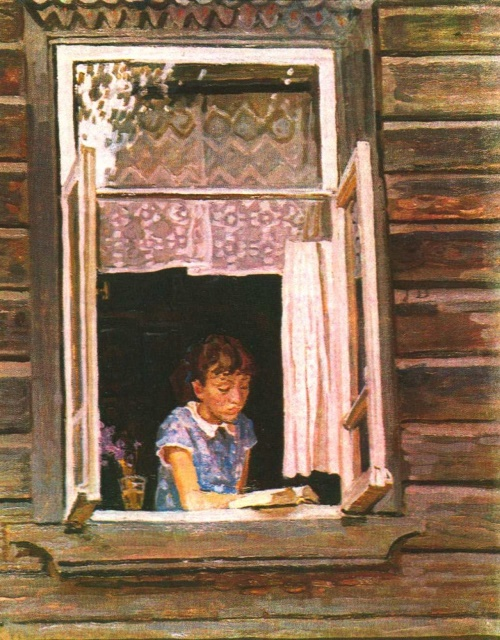 E. Tkacheva. Opened window. Oil. 1987