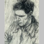 E.Ya. Einman. Portrait of the artist E. Okas. 1942