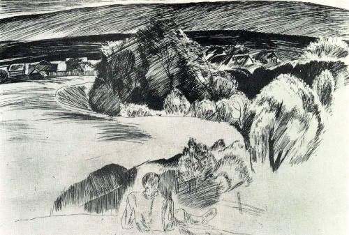 EM Saitov (Ufa). In native land. From the series 'Workers of the Bashkir village'. 1978-1979. Etching