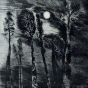 EO Matsieyevski (born 1945 Moscow). Kratovskoe lake. From 'Evening Moscow suburb' series. 1975 Etching