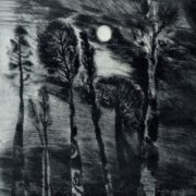 EO Matsieyevski (born 1945 Moscow). Kratovskoe lake. From 'Evening Moscow suburb' series. 1975 Etching