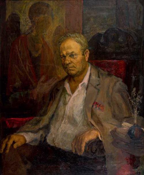 Evgeny Samuilovich Drofin. Portrait of Tula writer storyteller I. Pankin. 1995. Tula art museum