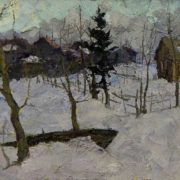 First snow. Thaw, 1959. Oil on canvas